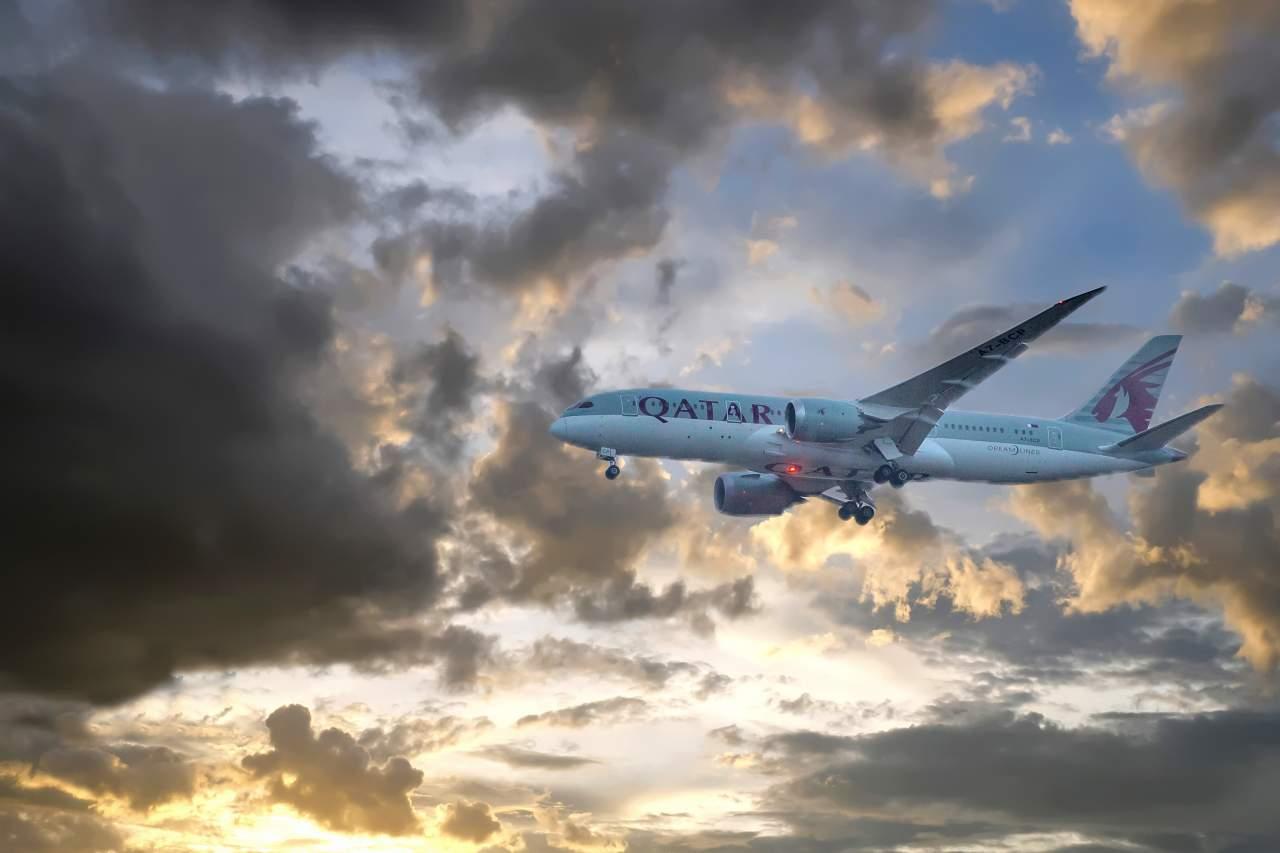 Qatar flying across Moody Skies…